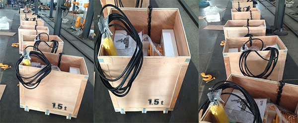Electric hoist packed for delivery Argentina
