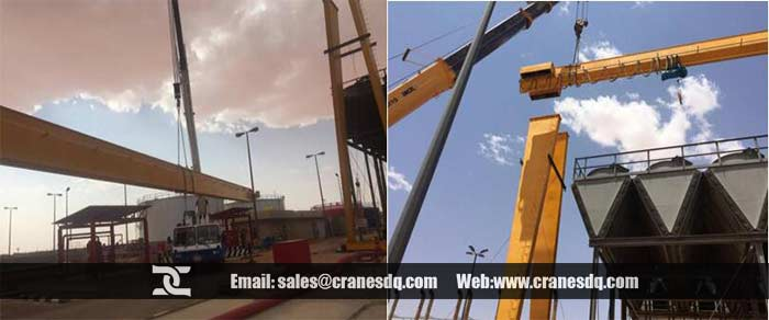 Gantry Crane installation: Shipping main girder & Lifting main girder up on legs