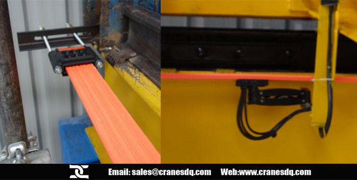 Overhead crane power line tensioner and current connector
