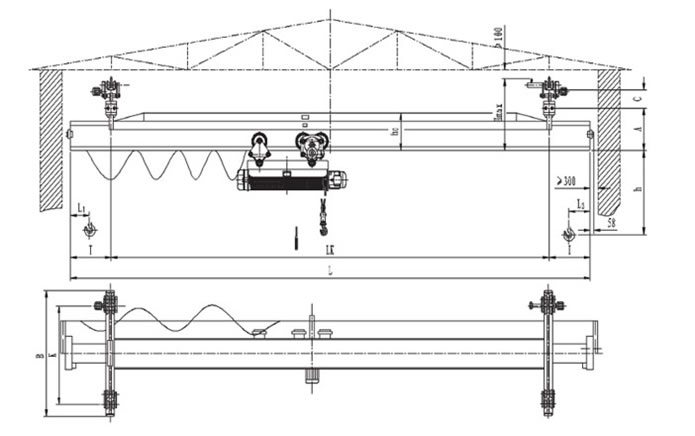 Single Girder Eot Crane Drawing : Suspension crane on single girder eot of dqcranes
