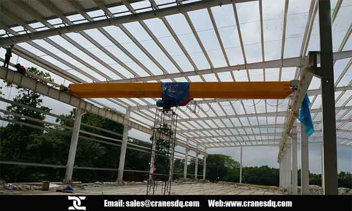 10 ton single girder overhead crane installed in Dhaka, Bangladesh