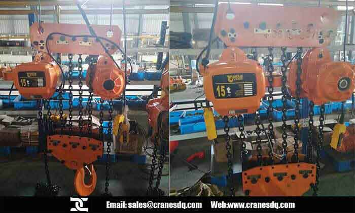 15 ton chain hoist: 15 ton electric chain hoist with trolley for sale