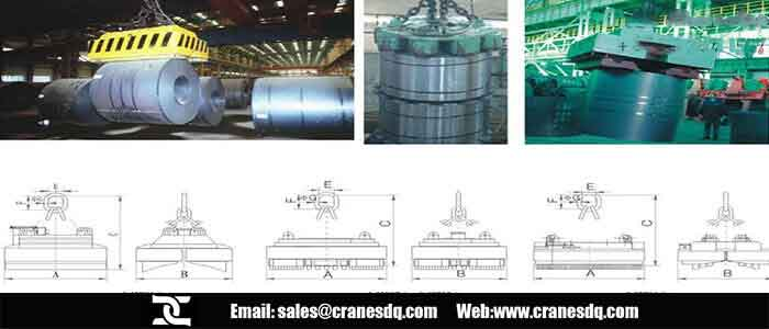 Crane electromagnet for vertical coil and horizontal coil handling
