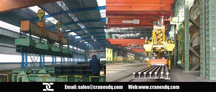 Electromagnet crane for heavy rail and profiled steel
