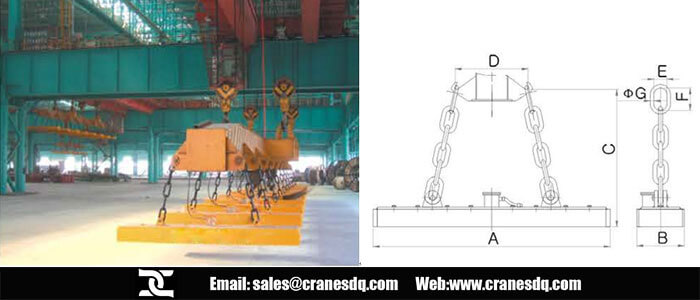 Crane electromanget for steel plate and crane electromanget drawing