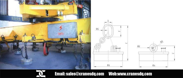 Crane electromagnet and crane electromagnet drawing