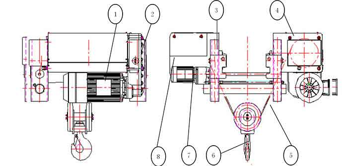european wire rope single girder hoist drawing