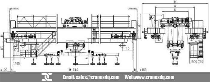 Lower rotating electromagnetic carrier-beam overhead crane