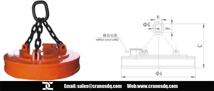 Round crane electromagnet for steel scraps and drawing